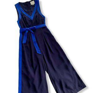 ELEVENSES Anthro Navy Blue Becas Jumpsuit Crop